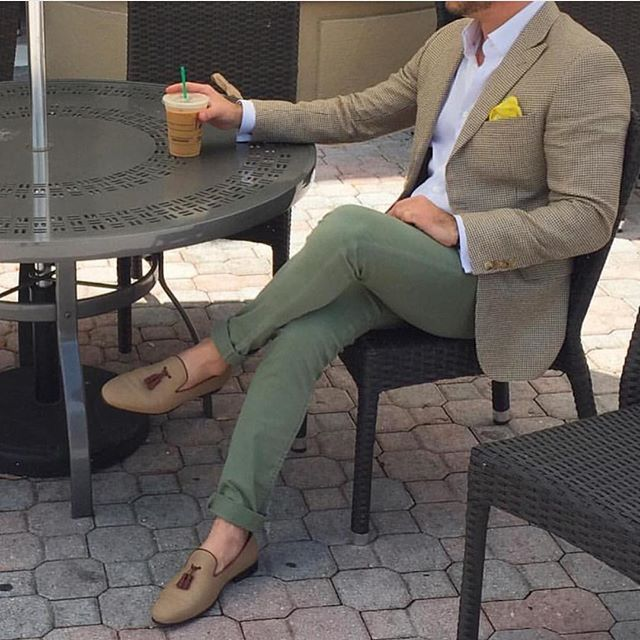 Men in beige suit and beige dress shoes on chair